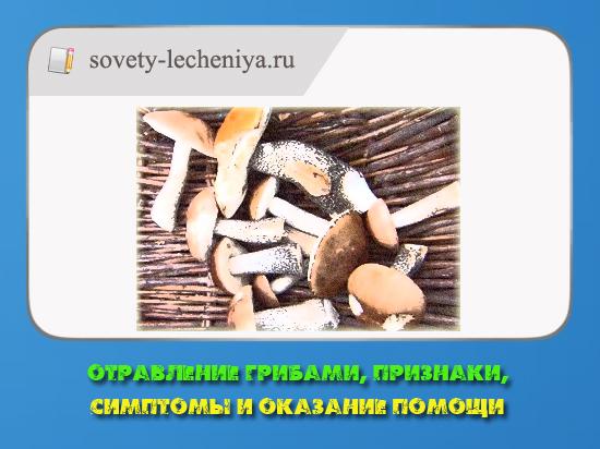 Отравление грибами, признаки, симптомы и оказание помощи